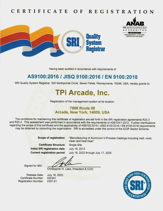 TPi Arcade AS9100 Certification